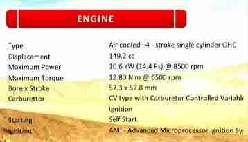 Hero CBZ Xtreme engine specifications