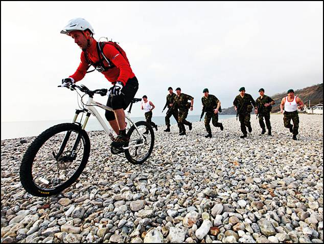 Mountain biker vs UK's Royal Marines