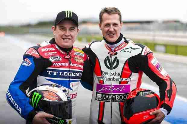 John McGuinness & Michael Schumacher ride together