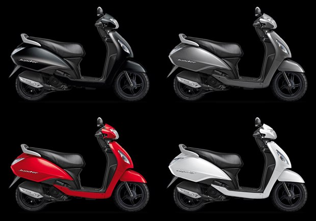 tvs jupiter colours 2013 TVS Jupiter scooter launched