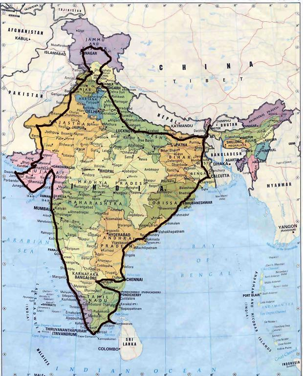 India @ 72 kmph map