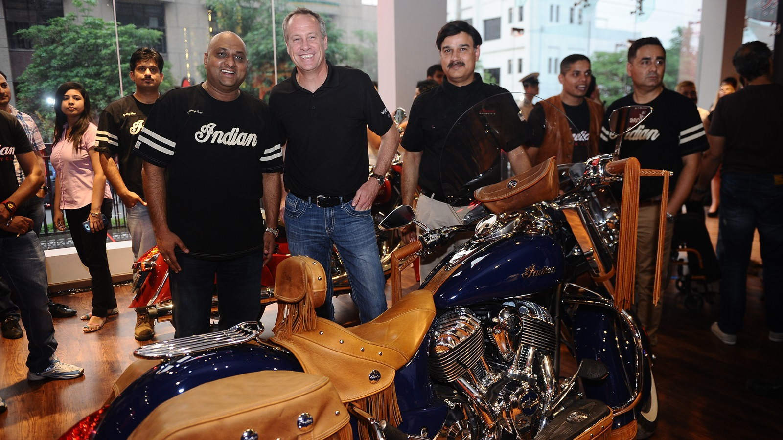 Indian Motorcycle Dealership India  (L to R) Mr Sandeep Bansil, Dealership Principal - Indian Motorcycle, Mr Bennett Morgan, COO-Polaris Industries, Mr Pankaj Dubey - MD Polaris India