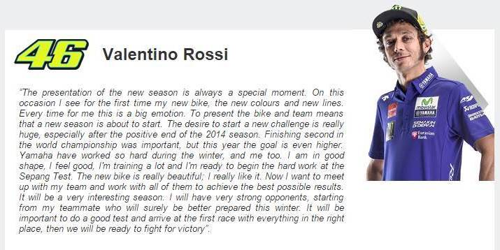 Valentino Rossi on MotGP 2015 season