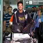 cs santosh arriving at bengaluru airport