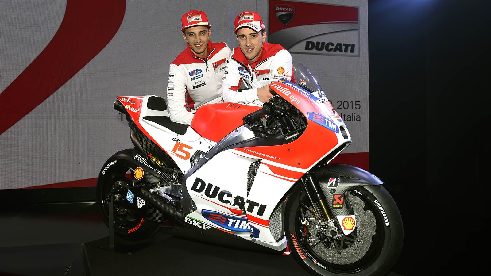 Ducati factory riders with GP15 - Andrea Iannone and Andrea Dovizioso