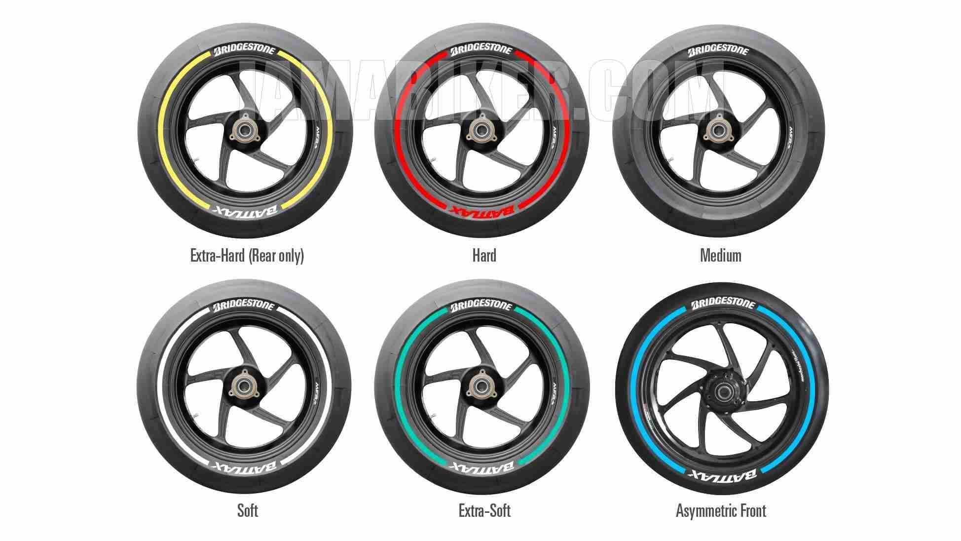 Bridgestone slick tyre colours for the 2015 MotoGP season