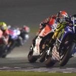 Valentino Rossi Andrea Dovizioso last lap battle MotoGP Qatar 2015