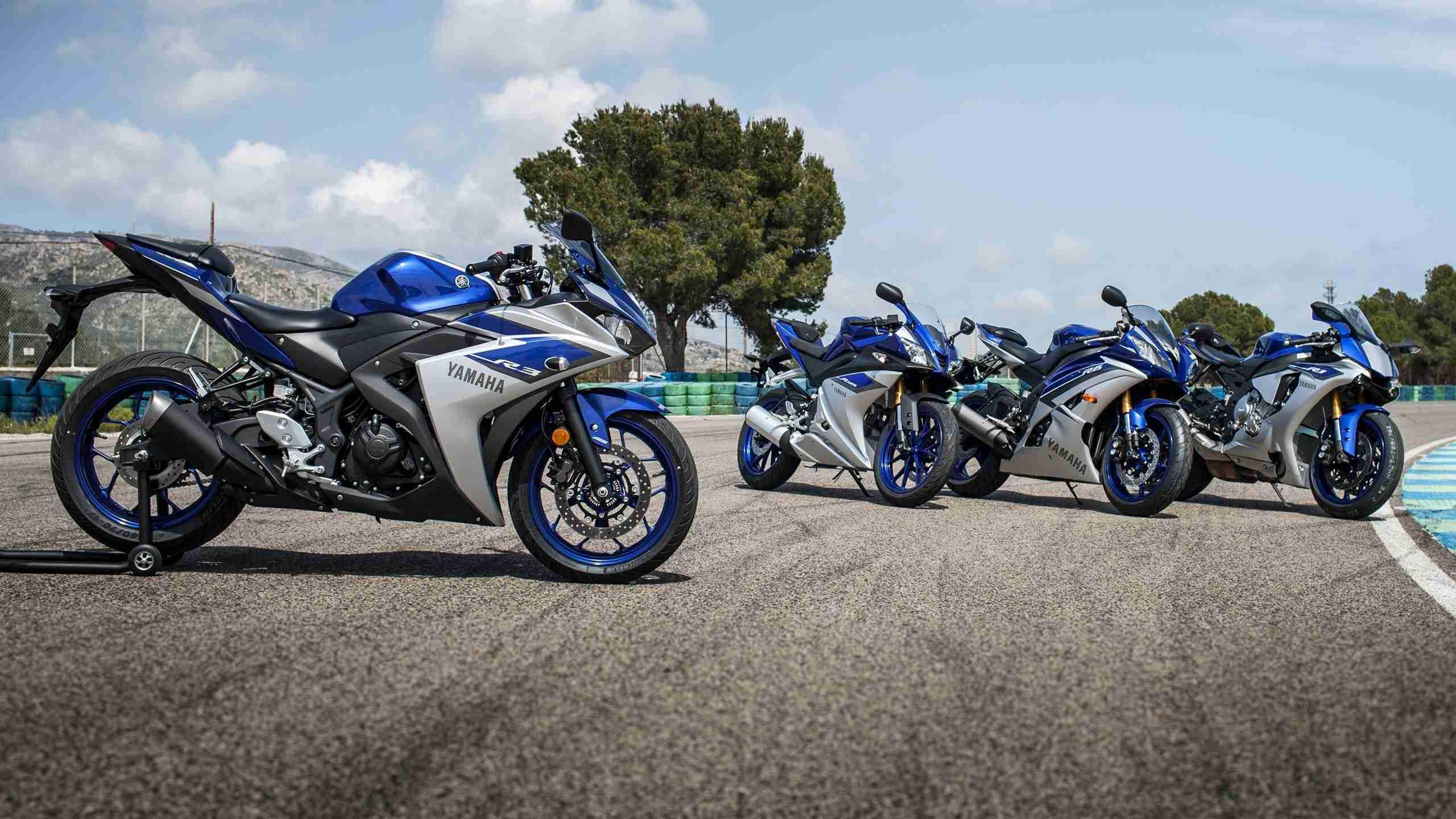 Yamaha R3 along with R125 R6 and R1