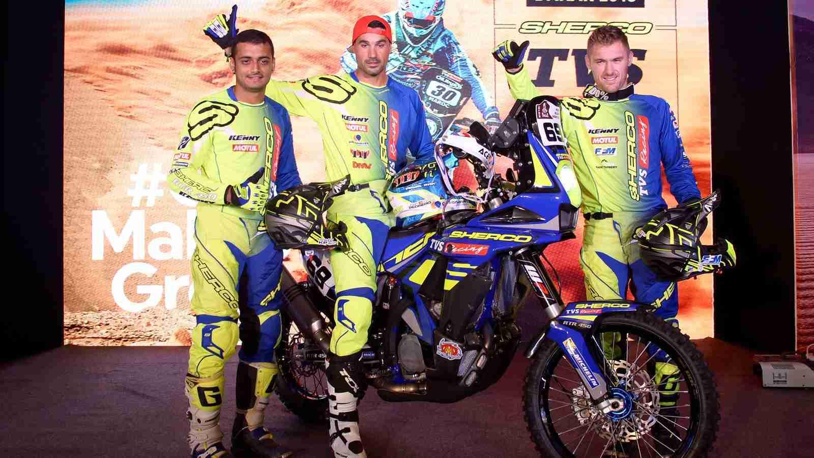 Sherco TVS Factory Rally Team ready for Dakar 2018 - Aravind KP, Joan Pedrero and Adrien Metge