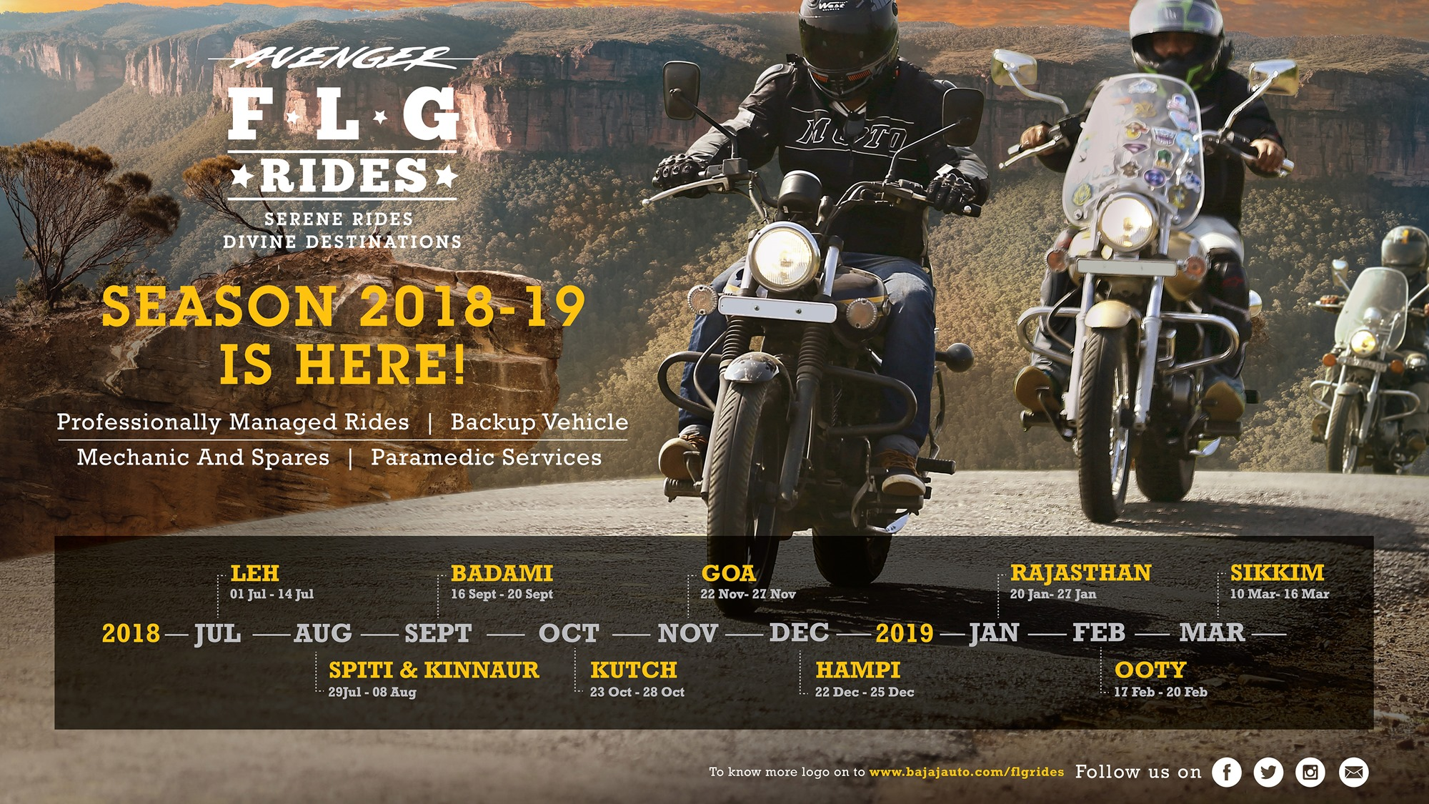 Bajaj announces Avenger FLG Rides for 2018-19