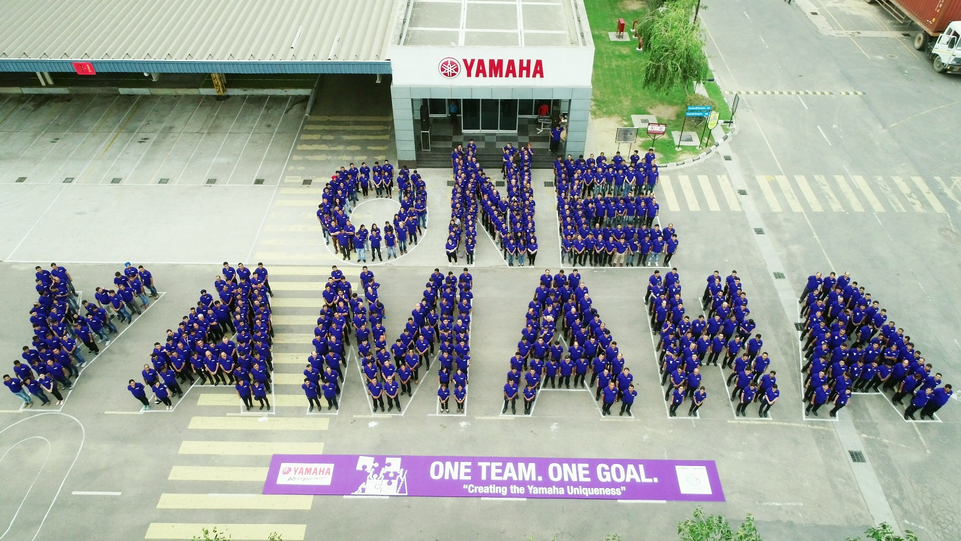 One Yamaha Formation by Employees at Surajpur Factory