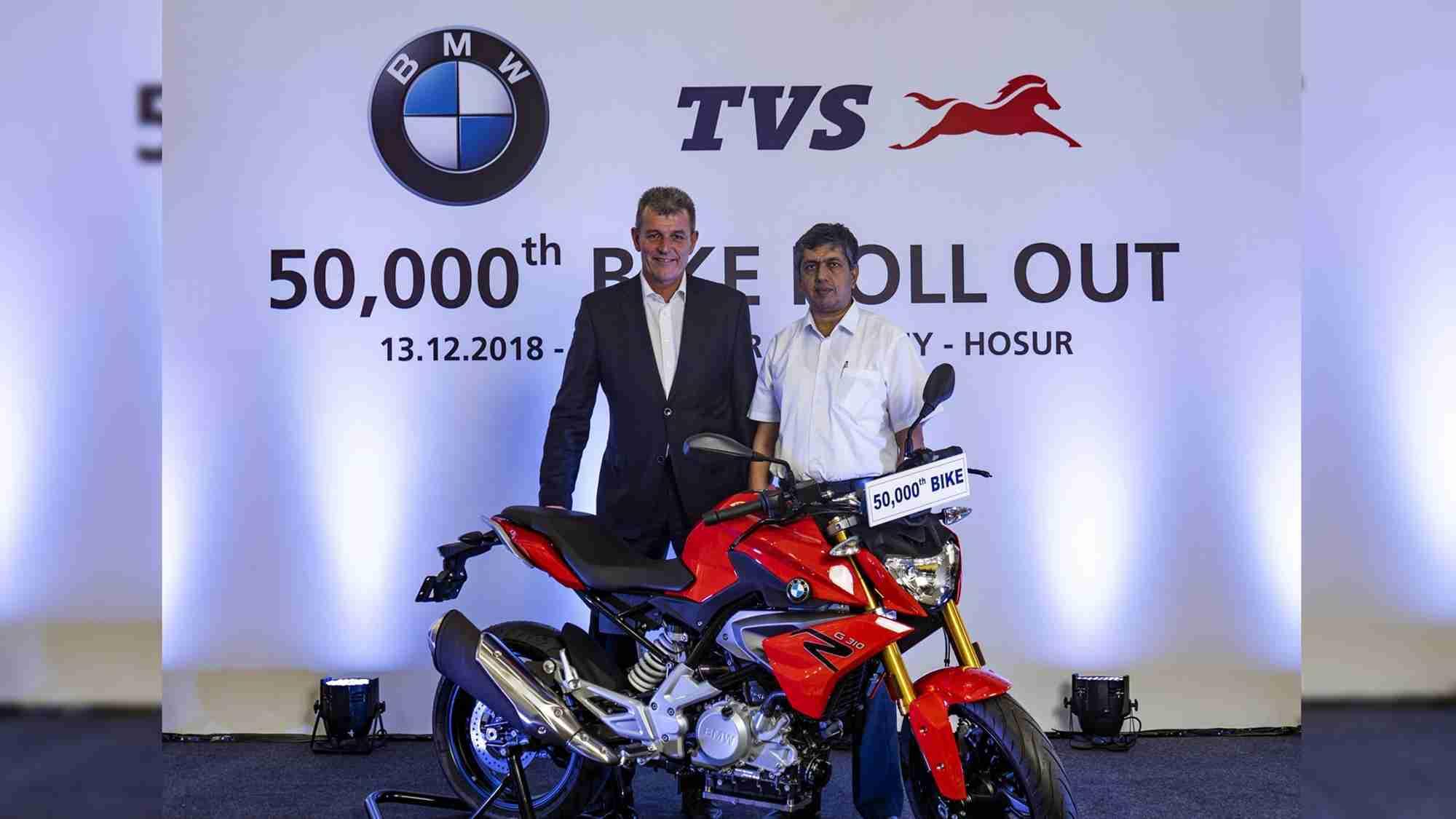 Dr. Markus Schramm and Mr. KNR Radhakrishnan - 50000 roll out BMW G310
