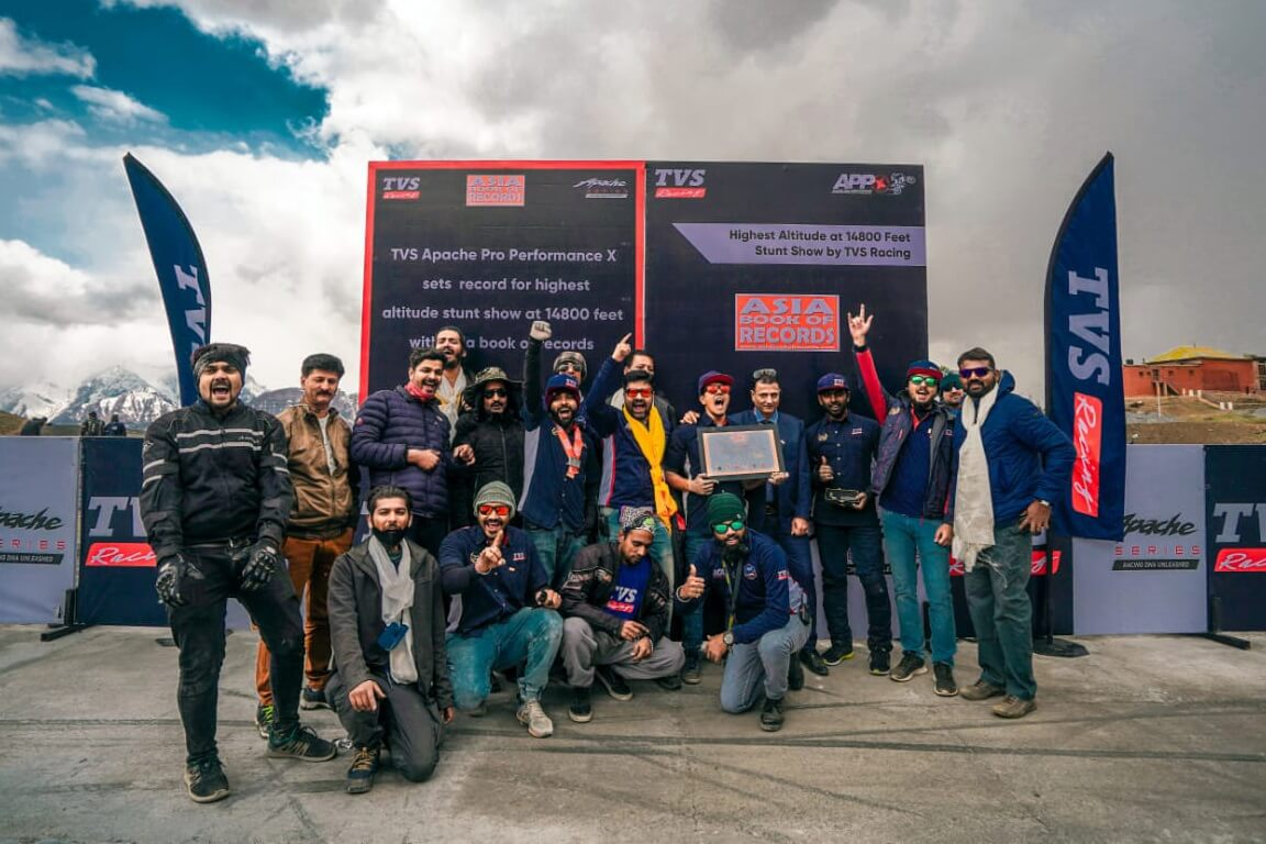 TVS Apache stunt riders Asia Book of Records