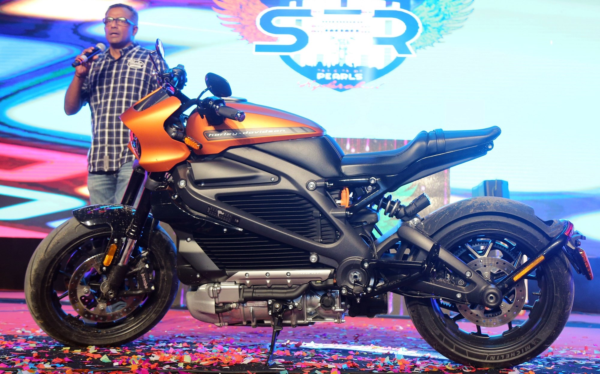Sajeev Rajashekharan M.D H-D India on stage at 8th Southern H.O.G. Rally hosted by Banjara Harley-Davidson
