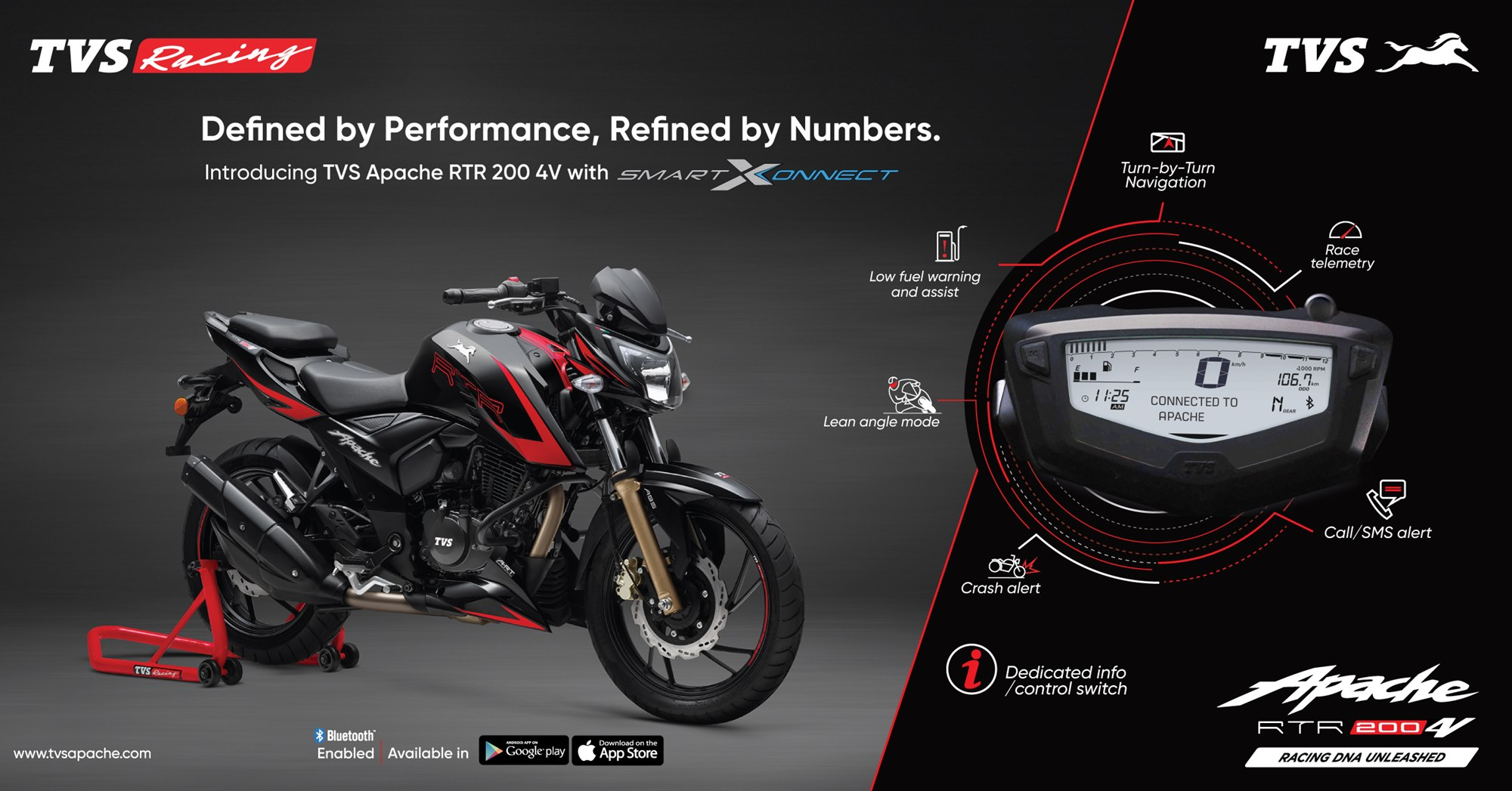 Apache RTR 200 4V with TVS SmartXonnect technology