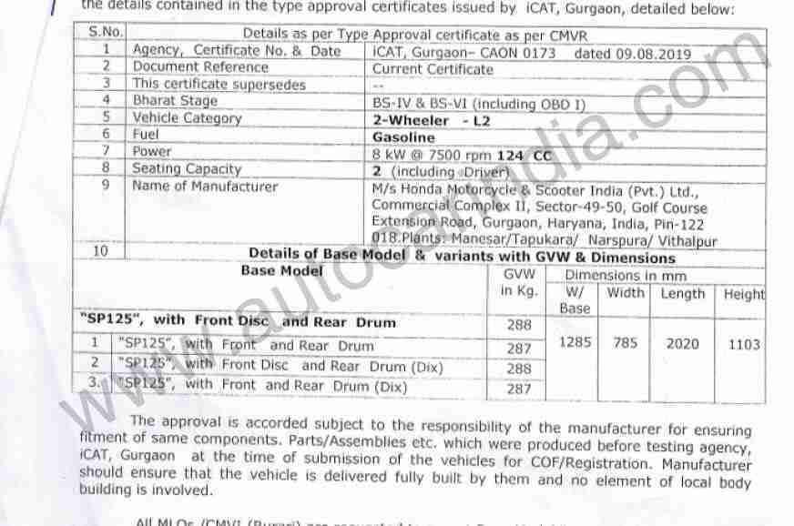 BS 6 Honda CB Shine SP leaked online document