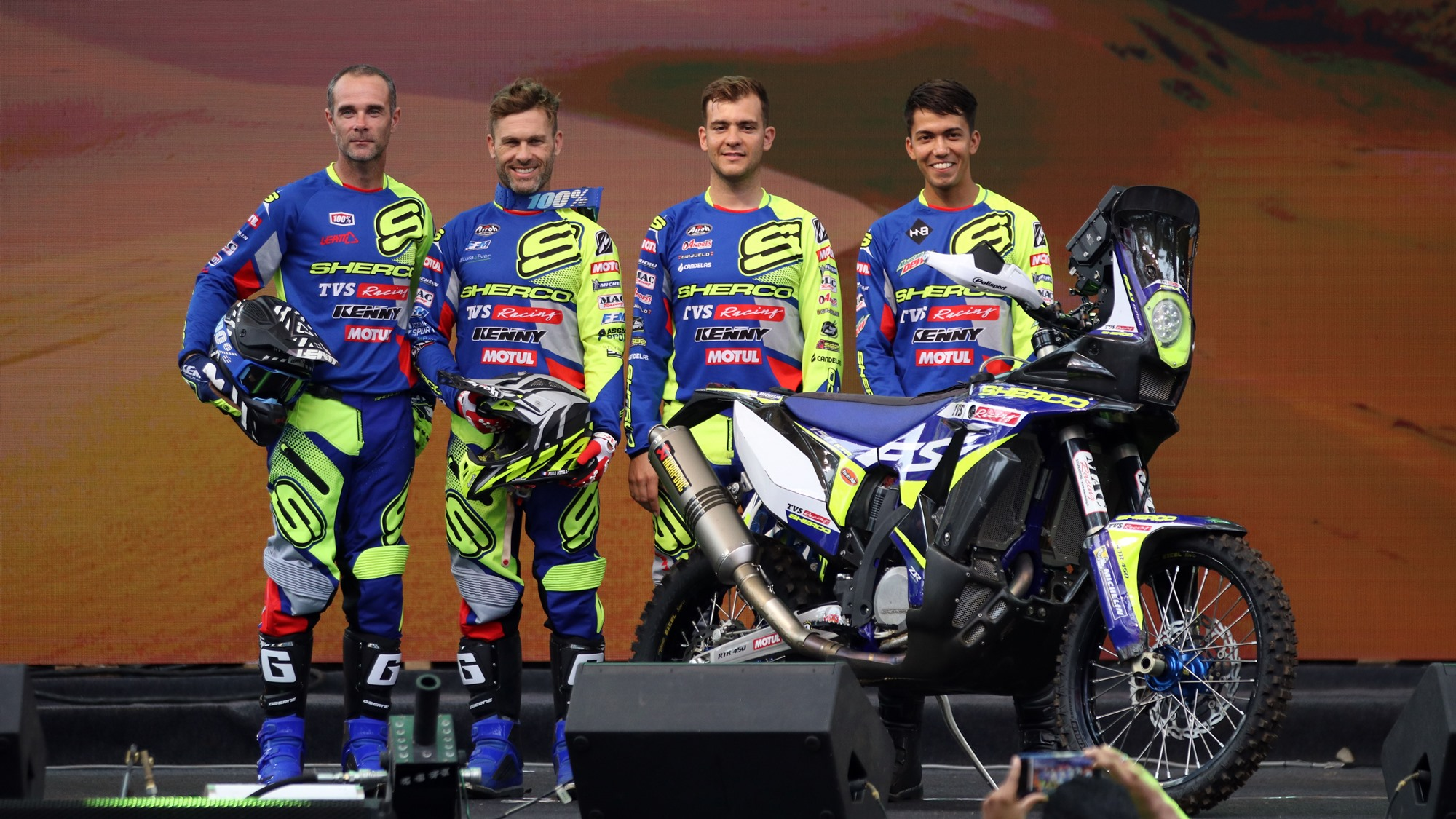 Sherco TVS Rally Factory Team announces riders for Dakar Rally 2020 - (From left)Johnny Aubert, Michael Metge, Lorenzo Santolino, Harith Noah