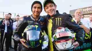 Lewis Hamilton, Valentino Rossi ride swap