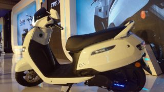 TVS iQUBE electric scooter seat and charging port