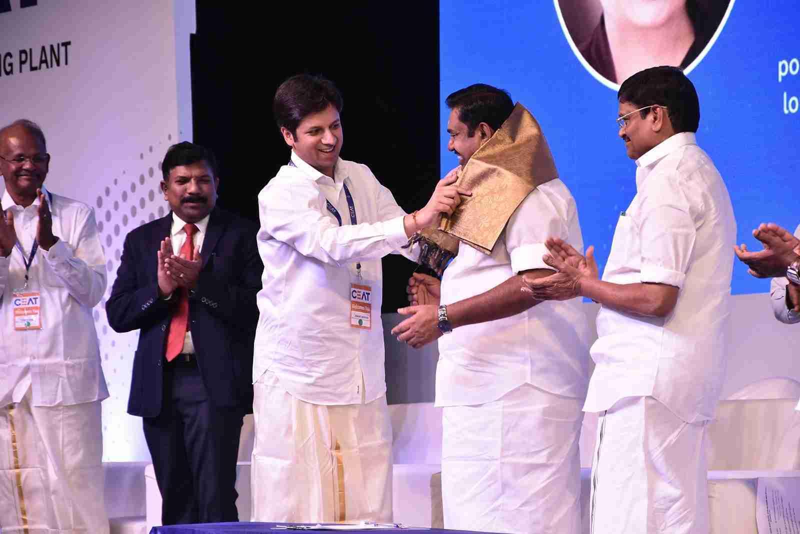 Mr Anant Goenka, Managing Director, CEAT Tyres Ltd, Shri Edapaddi Palaniswami, CM of Tamil Nadu & Shri M.C. Sampath Minister of Industries