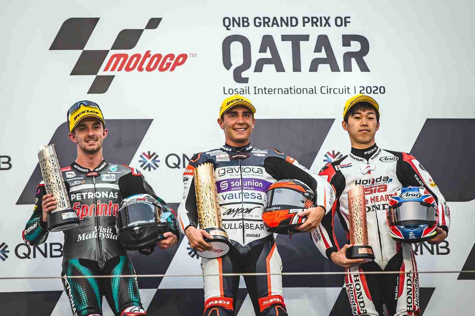 Moto3 Qatar winners 2020 - Albert Arenas - John McPhee - Ai Ogura