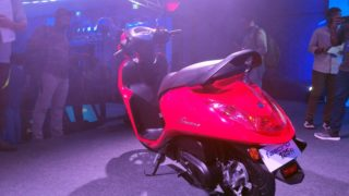 Yamaha Fascino 125 Fi red colour back view