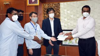 Yamaha donates Rs 25 lakh to Kancheepuram District Collector