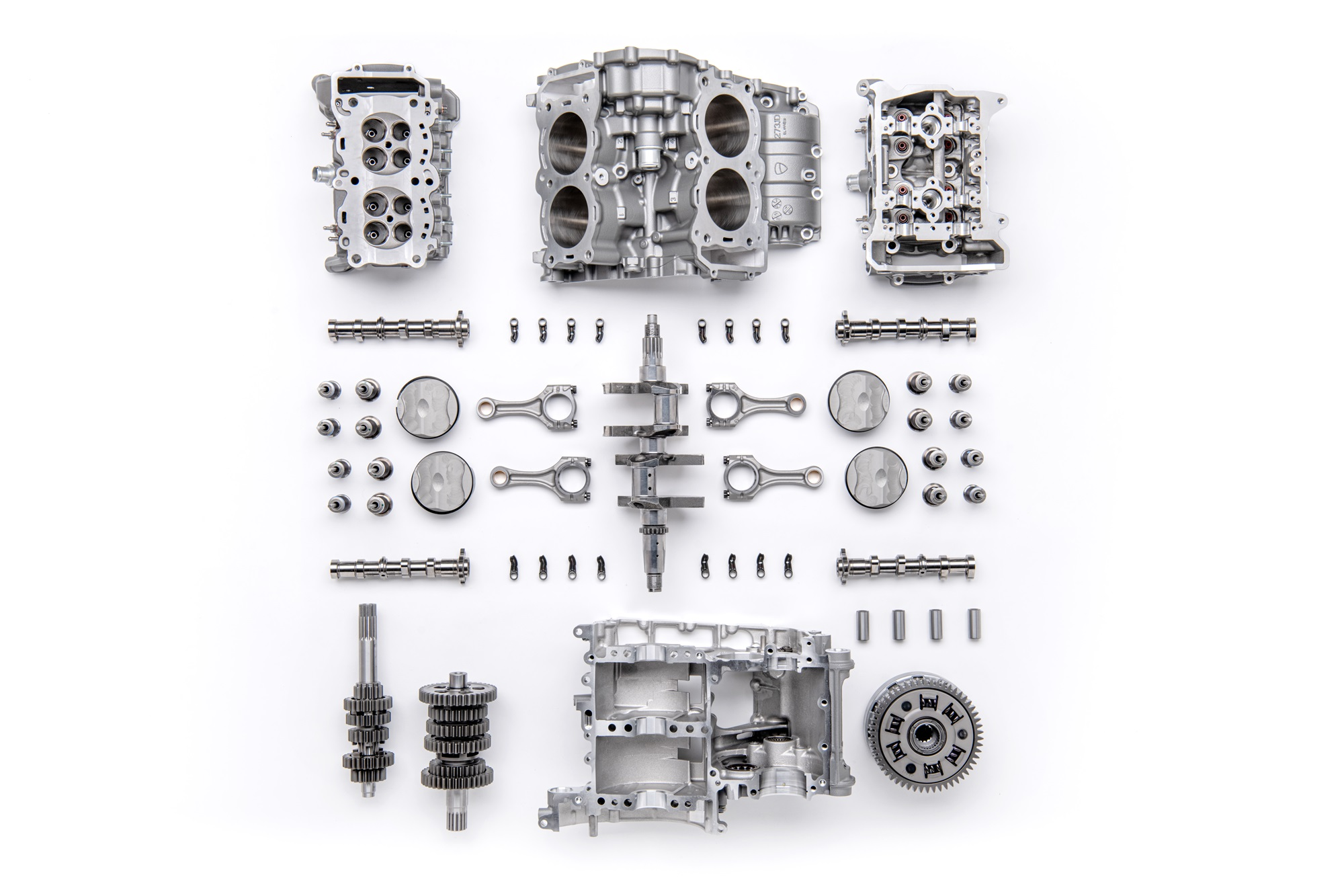 The new Ducati V4 Granturismo engine components
