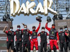 Monster Energy Honda Team celebrating the winning at 2021 Dakar Rally