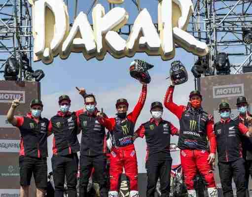 Monster Energy Honda Team celebrating the winning at 2021 Dakar Rally