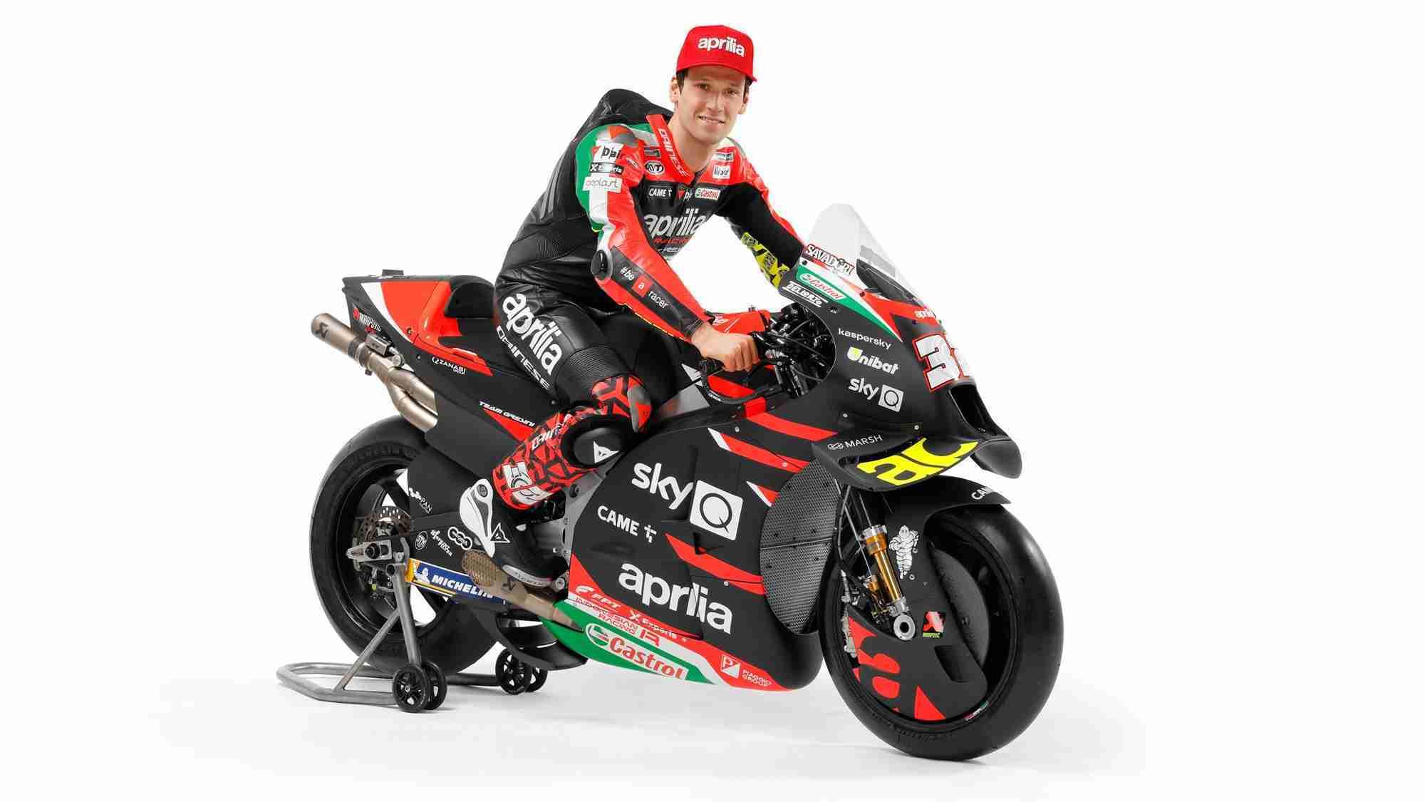 Lorenzo Savadori with 2021 Aprilia RS-GP