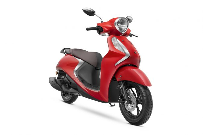 Yamaha Fascino 125 Fi now with Hybrid Power Vivid Red Standard drum brake version