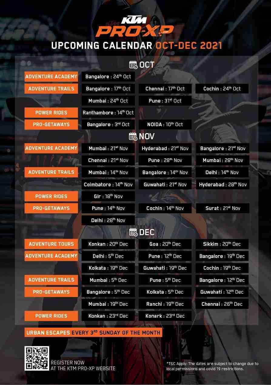 KTM India Pro-XP rides Calendar