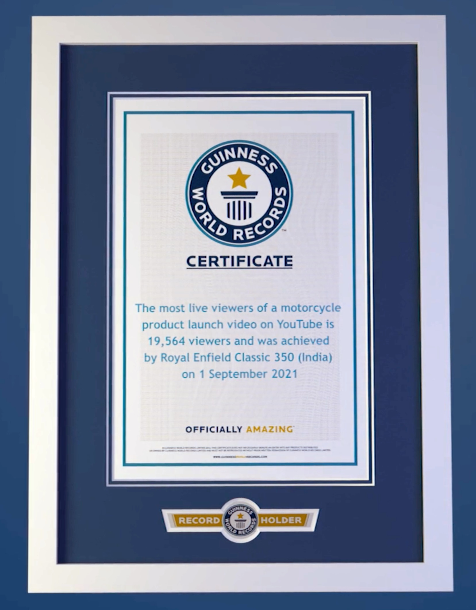 Certificate- Royal Enfield Guinness World Record