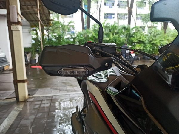 Honda CB200 knuckle guard with indicators
